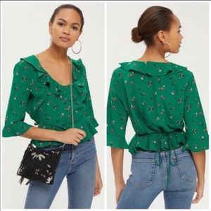 TOPSHOP Green Ruffle Floral Blouse